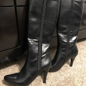 Black with Silver Studs Heel Boots